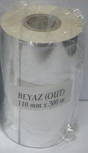 110x300 / 110mmx300mt Beyaz wax ribon
